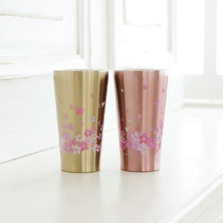 Cherry blossom pattern stainless steel tumbler 340 ml