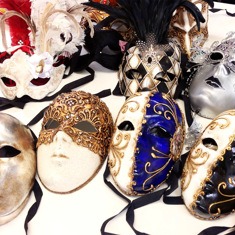 Traditional masks meticulously <br />