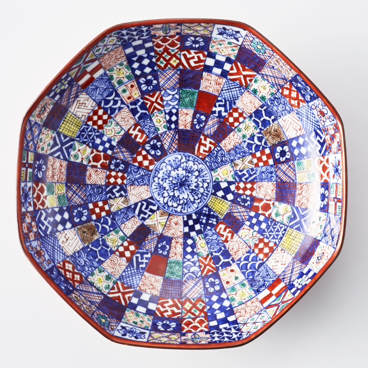 Deep dish with various painted patterns
