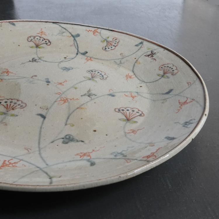 Tenpyougama,Satuki Oka,vine and flower with color,ellipse plate