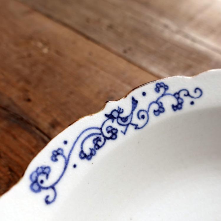 Arita ware, Junko Takahashi, blue and white porcelain 20cm  shallow bowl