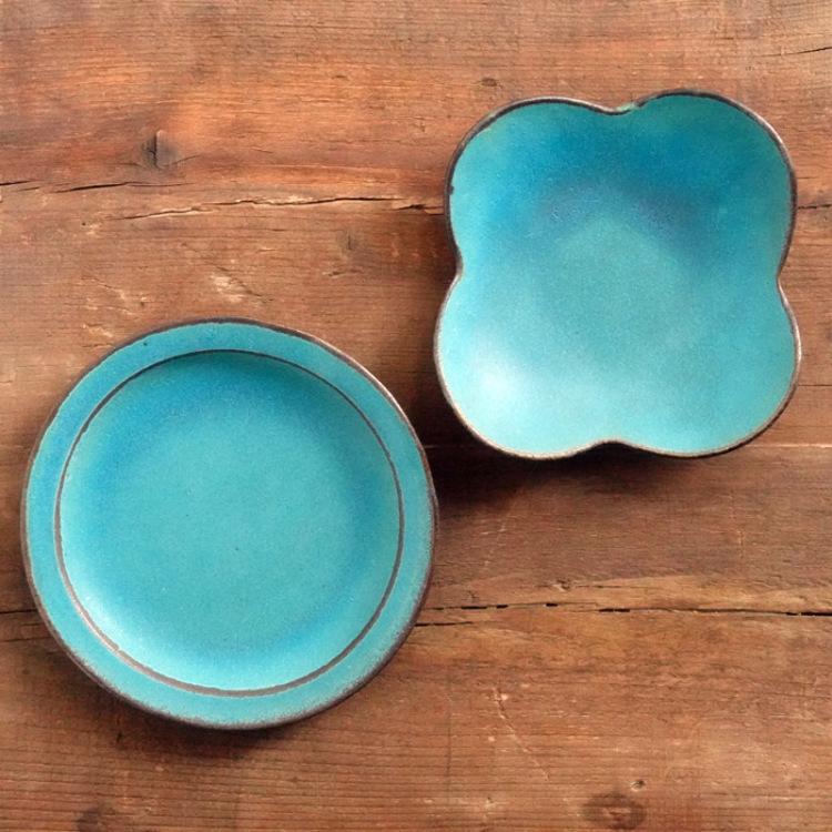 益子焼 わかさま陶芸 シャビ―ターコイズ 花皿 リム5寸皿