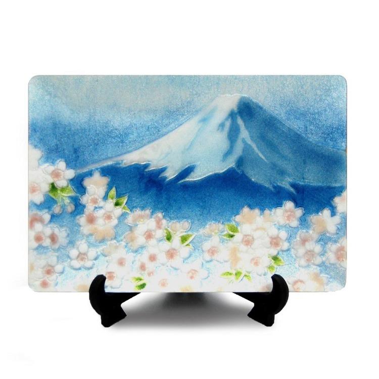 Cloisonne Blue Fuji cherry show plate