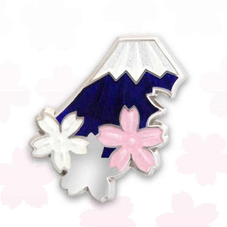 Fuji cherry pin brooch